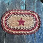 Vintage Oval Braided Rug Star Small Miniature Mat Chairpad Chair Pad Dollhouse Folk Art Primitive Br