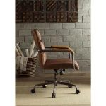 ACME Furniture Harith Retro Brown Top Grain Leather Office Chair