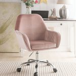 Acme 92504 Eimer peach velvet fabric office chair with casters