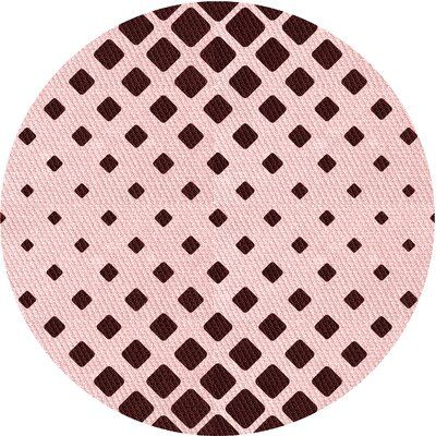 East Urban Home Abstract Wool Red Area Rug Rug Size: Round 5′