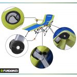 Fundango Folding Camping Chair Portable Patio Lounge Chaise Heavy Duty Lawn Chair with Cup Holder Armrest and Storage Bag for Patios, Garden, Outdoors