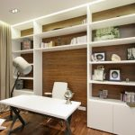 Home & Apartment, Astounding Home Office Plus Large Bookshelves With Wood Floor ...
