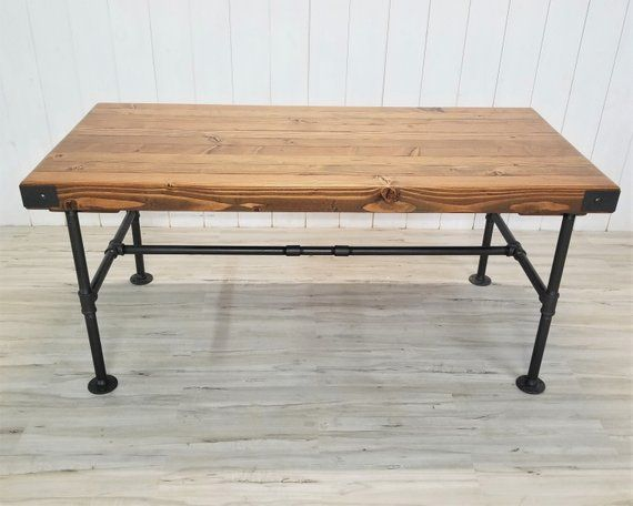 SALE Rustic Butcher Block Style Table w/ Extensions, Industrial Steel Pipe Base