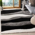 "Safavieh Florida Shag Cirilla Abstract Wave Rug (2'3"" x 5' - Grey/Black), Gray"