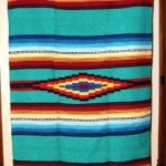 Saltillo Mexican WovenThrow or Area Rug Tapestry Southwestern Lg 4x6 ft size Aqu...