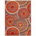 TRANS-OCEAN IMPORT CO Liora Manne Marina Circles Saffron 4 ft. 10 in. x 7 ft. 6 in. Indoor/Outdoor Area Rug